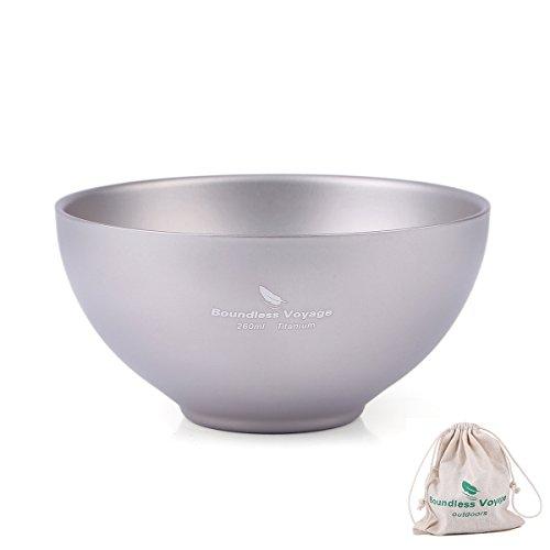 iBasingo Titanium Double Wall Bowl Ultrlight Portable Bowl Outdoor Camping Tableware ()