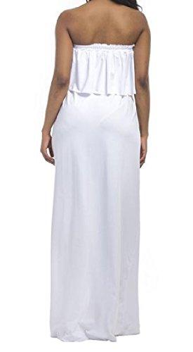 Épaule Sans Manches Des Femmes Coolred Au Large De La Robe Maxi De Soirée Blanche