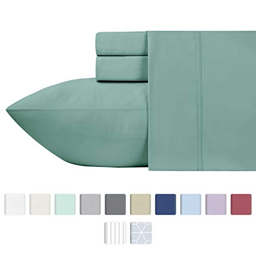 - 600 Thread Count Best Sheets 100% Cotton Sheets - Sage Long-staple Cotton Queen Sheet For Bed, Fits Mattress Upto 18'' Deep Pocket, Breathable & Silky Sateen Weave 4 Piece Sheets and Pillowcases Set