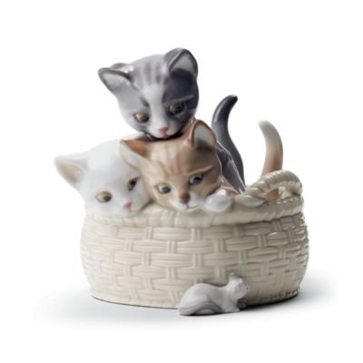 Lladro Curious Kittens In A Basket by Lladro