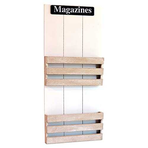 WHW Whole House Worlds Farmers Market Magazines Wall Mounted Rack, 2 Pockets, Bins, Display, Rustic White and Chippy Gray, Distressed Shiplap Siding, Vintage Finish, Hangers, 2 Ft Tall