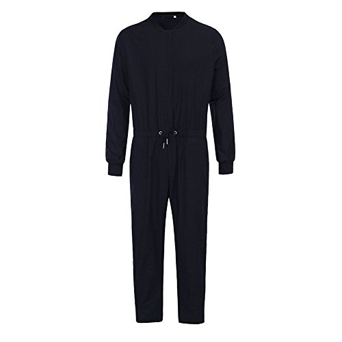 Cheap Jumpsuits For Men (Bangerdei Men's Slim Fit Jumpsuit Drawstring Romper Overall Playsuit Streetwear Black XL)