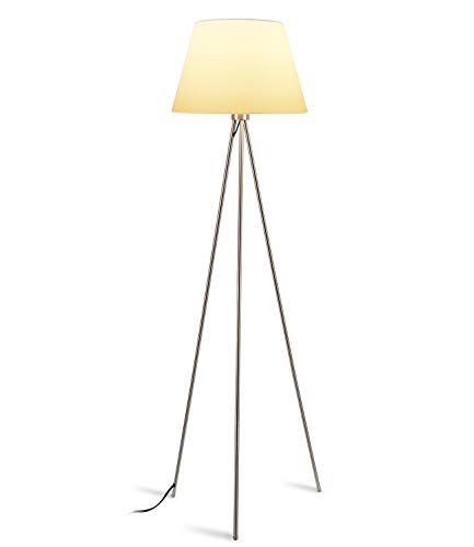 LEONLITE Modern Metal Tripod Floor Lamp, 4.8ft Tall, Contemporary Standing Light, Concise Fabric Lampshade, Decoration for Apartments, Living Rooms, Bedrooms, Offices
