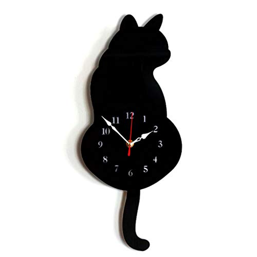 Shoresu Cartoon Cat Wall Clock Mute Home Decoration Wagging Tail Swing Silent Movement - Black Cat