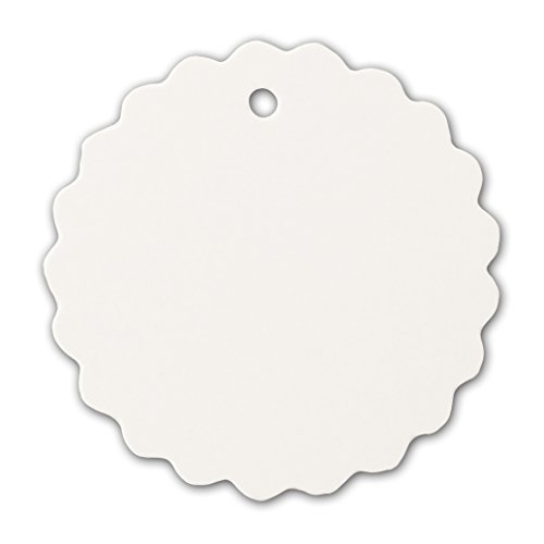 - LWR Crafts 100 Hang Tags Scalloped Round with Jute Twines 100ft (2
