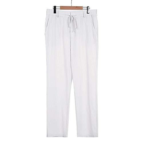 Blanc Lâche Pants Long Avec Élastique Couleur Légers Bobolily Hommes Solide Linen Jambe Eté BPFwxnqfA