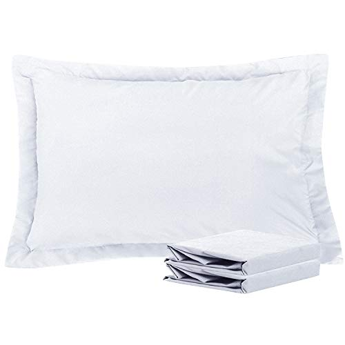 NTBAY Queen Pillow Shams, Set of 2, 100% Brushed Microfiber, Soft and Cozy, Wrinkle, Fade, Stain Resistant (White, Queen)