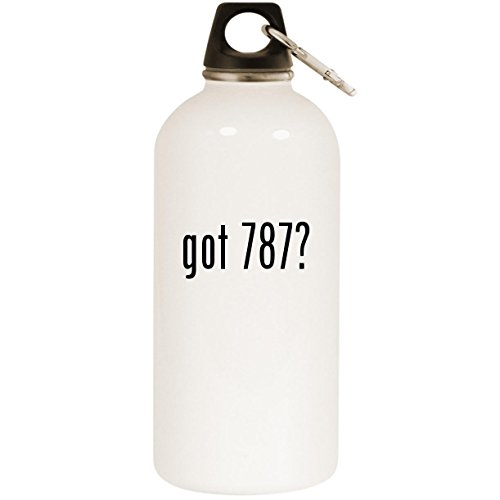 (Molandra Products got 787? - White 20oz Stainless Steel Water Bottle with Carabiner)