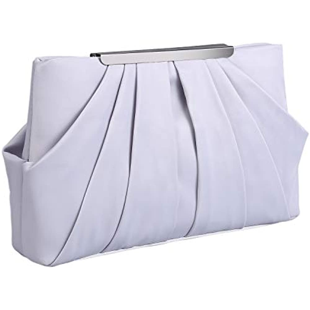 f5dd356b52 Womens Pleated Satin Evening Handbag Clutch With Detachable Chain Strap  Wedding Cocktail Party Bag (Silver) Handbags