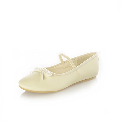 DressForLess Classic Ballet Flats, Ivory, 1