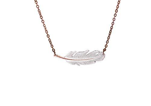 Boho White Feather Necklace on 18
