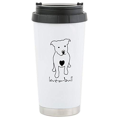 CafePress Love-A-Bull Pit Bull Stainless Steel Travel Mug, Insulated 16 oz. Coffee Tumbler