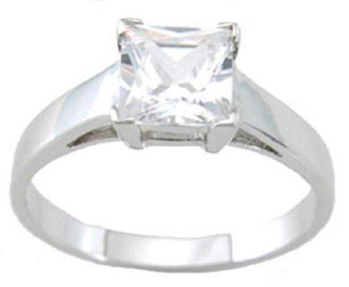 Cut Solitaire Princess Classic - LaRaso & Co Realistic Princess Cut 925 Sterling Silver 1 Carat Cut CZ Engagement Ring Size 9