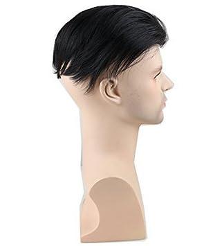 Eseewigs Quiff Hair Mens peluquín Peluca de cabello humano recto de baja densidad Transpirable Color natural de encaje en el frente y Mono peluca neta ...