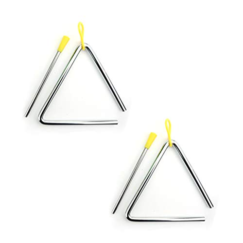2 Set Musical Steel Triangles 5 Inch Hand Percussion Instrument Triangles Music Triangle Instrument Set with Striker