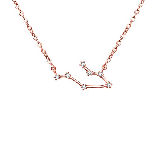 "BriLove Rose-Gold-Toned 925 Sterling Silver Necklace -""Gemini"" Zodiac Constellation Horoscope 12 Astrology Wedding Bridal CZ Pendant Necklace for Women Clear April Birthstone"
