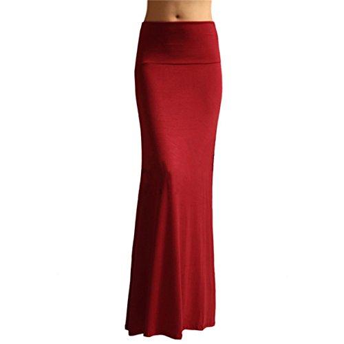 Knit Drop Waist Skirt - Azules Women's Rayon Span Maxi Skirt, Wine, Size Large