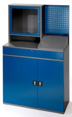 RAU Computer-Arbeitsstation - Monitorgehäuse, 2 Ausziehböden, anthrazit / enzianblau - Schränke EDV-Mobiliar PC-Arbeitsplatzsysteme EDV-Schränke PC-Stationen Arbeitsstationen PC-Schränke Computerschränke Workstations Schränke EDV-Mobiliar