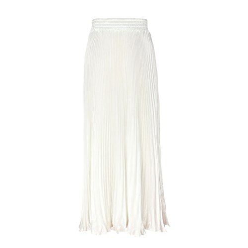 Ezcosplay Vintage Womens Shimmer Pleated Bodycon Maxi Long Accordion Party Skirt ()