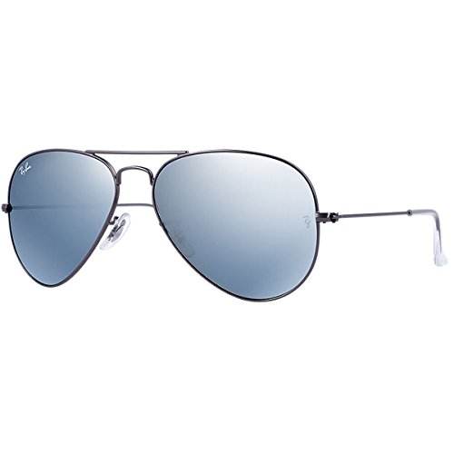 Ray-Ban 3025 Aviator Large Metal Mirrored Non-Polarized Sunglasses, Gunmetal/Silver Flash (029/30), 58 - Silver Aviators Mirrored Ray Ban