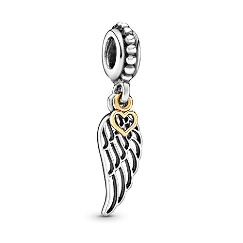 Pandora Jewelry - Angel Wing and Heart Dangle Charm in Sterling Silver and 14K Yellow Gold