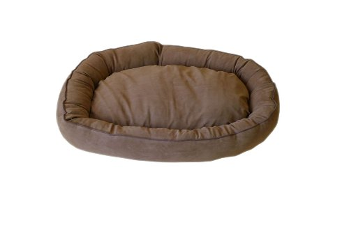 Brown Microfiber Bagel Bed - CPC Microfiber Oval 24 x 20 x 5-Inch Lounge Bagel Saddle Pet Bed with Chocolate Piping, Small