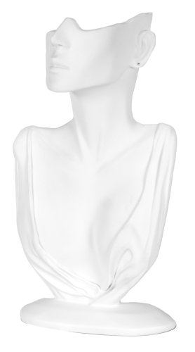 KC Store Fixtures 49153 Jewelry Display, Bust with Partial Face for Necklace and Earrings, White, 12 1/4 Inches High Jewelry Display Fixtures