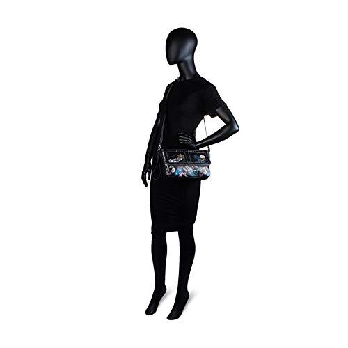 botón y Piel Solapa Color Bolso Negro Cremallera asa Llavero con Cierre y Trasero con Negro sintética 95561 Mujer Cierre SKPAT de Bandolera Polipiel Lona Adicional Bolsillo qPpw6R6v