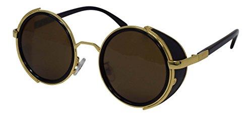 té protección sol 50s Lentes gafas espejo y gafas Vintage cobre de Gafas con Rave en marrón y redondo oro UV400 oro Goth de Cyber estampado ultra plata marrón leopardo azul de Steampunk qp8I5R