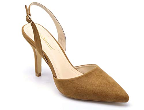 MaxMuxun Women Shoes Sexy Closed Toe Kitten Heels Camel Comfortable Slingback Dress Pumps Size 7