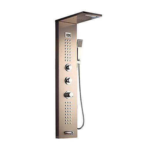 (PATNICK Shower System Nickel Brush Solid Brass Massage Jets Bathroom Rainfall Shower Head with Hand Sprayer Shower Column Set Fittings,B)