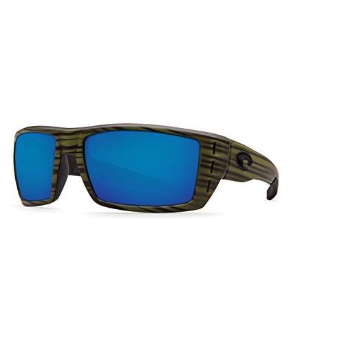 Costa Del Mar Rafael Sunglasses Matte Olive Teak Blue Mirror 580 Glass