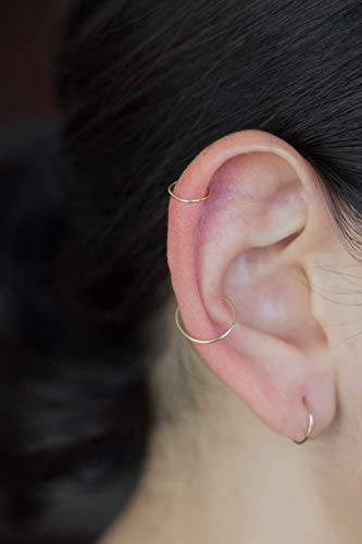 Tragus Rook 14K Gold-Filled Mini Hoop Earring by VooVooDesign 22 G Thin Super Small Gold Upper Cartilage Helix 2nd Lobe Piercing
