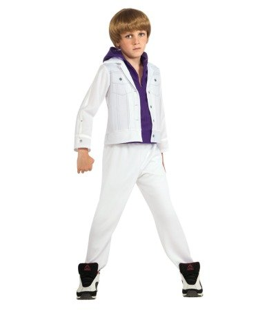 [Justin Bieber Concert White Purple Hoodie Child Halloween Costume (Size: Large 12-14)] (Kids Bieber Fever Wig)