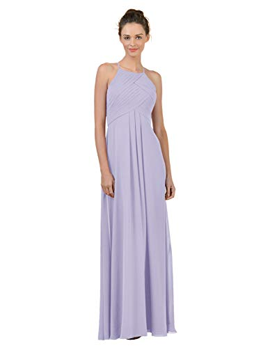 Alicepub Long Chiffon Plus Size Bridesmaid Dress Maxi Evening Gown A Line Plus Party Dress, Lilac, US4 from Alicepub