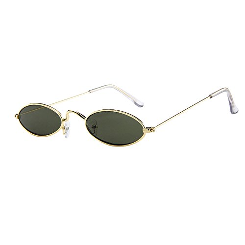 LUCA Fashion Mens Womens Vintage Small Sunglasses Oval Slender Metal Frame Candy Colors(F,One Size)