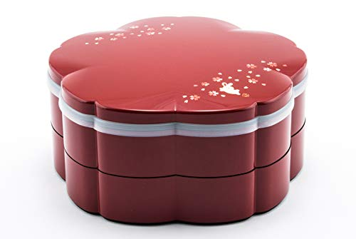 """Japanese Traditional Two Tiered Lacquer Container For Food Serving Stackable With Dividers Asian Home Serving Style Cherry Blossom Flower Shape 8.75"""" Diameter Made in Japan"""