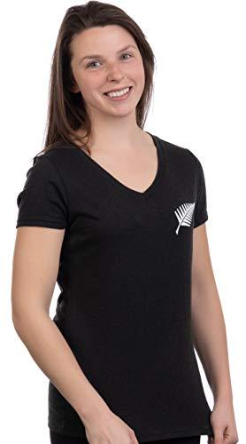 Kiwi New Zealand Pride   Silver Fern Southern Cross Women Girl Black T-Shirt Top-(Vneck,XL)