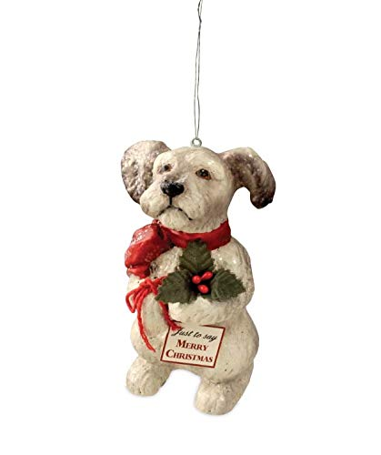 Bethany Lowe Terrier with Holly Puppy Ornament Dog with Scarf Christmas Tree Decoration 3 1/4 Inch
