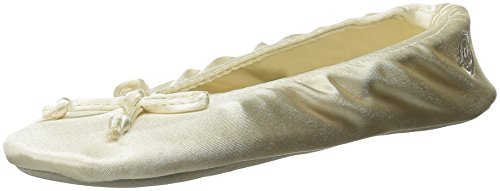 Isotoner Women's Satin Ballerina Slipper with Bow, Suede Sole, Cream, Large / 8-9 Regular US