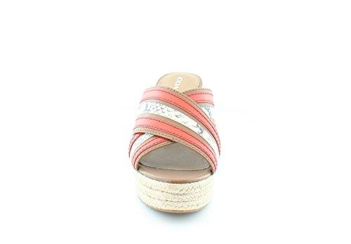 Scarpe Da Donna In Tessuto Fiorentino Open Toe Sandali Piattaforma Casual Sella / Carminio