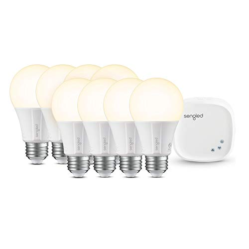 Sengled Smart LED Soft White (Element Classic) Starter Kit, 8 A19 Bulbs + Hub, 2700K, 60W Equivalent, Works with Alexa, Google Assistant & IFTTT