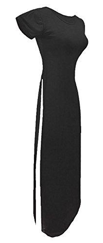 21fashion Femmes Court Manches Côté Fendu Dames Robe Maxi Col Rond Robe Longue Tunique Haut Uk 8-14 Charbon