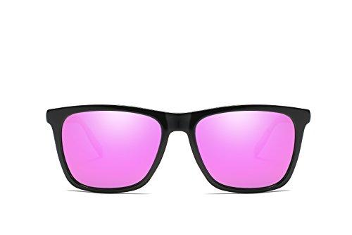 Hombre Negro Rosa Sol Unisex Espejo Espejada De Vintage Lente y Retro Lente De Brazos WHCREAT Moda Mujer Polarizadas Ultra Diseño Conducción Gafas para qwAEanHn1