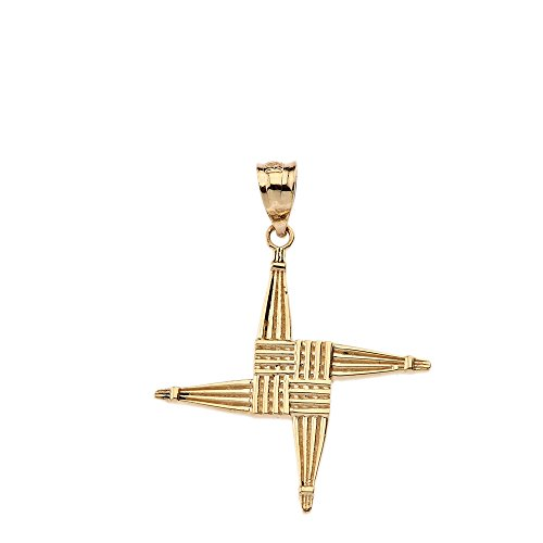Solid 14k Yellow Gold Saint Bridget St. Brigid Cross Pendant ()