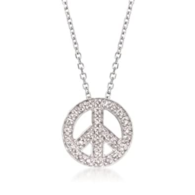 380b6892a8496 Amazon.com  .10 ct. t.w. Diamond Peace Sign Necklace in 14kt White ...