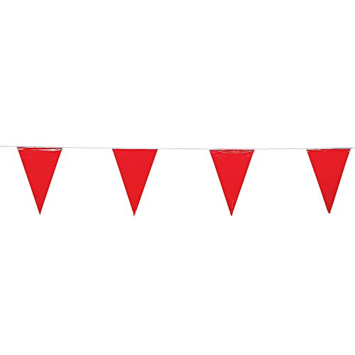 Fun Express - Red Pennant Banner (100ft) - Party Decor - Hanging Decor - Pennants - 1 - Party Pennant String