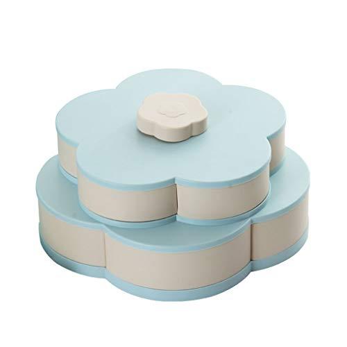 (Ktyssp Double-Layer Rotating Fruit Bowl Petal Shape Snack Storage Tray (Blue))