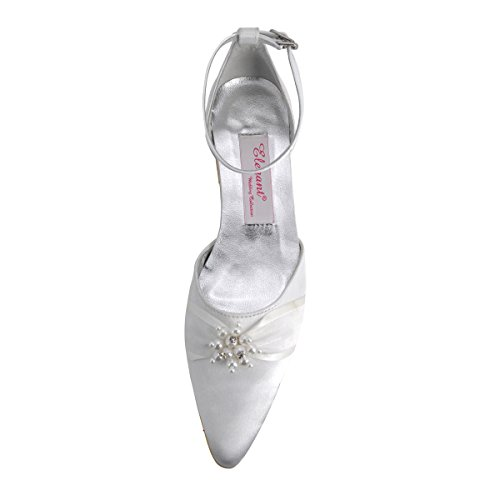 Shoes Ankle Pointed Rhinestone Elegantpark Strap Satin Flat Pearls A711 Women White Toe wvSp4aq