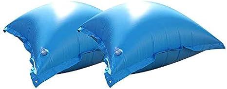 well2wellness® - 2 cojines de aire para piscina y cojines de invierno para lonas con nueva válvula y 4 ojales: Amazon.es: Jardín